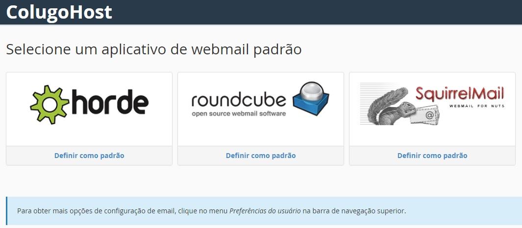 Selecione o Webmail